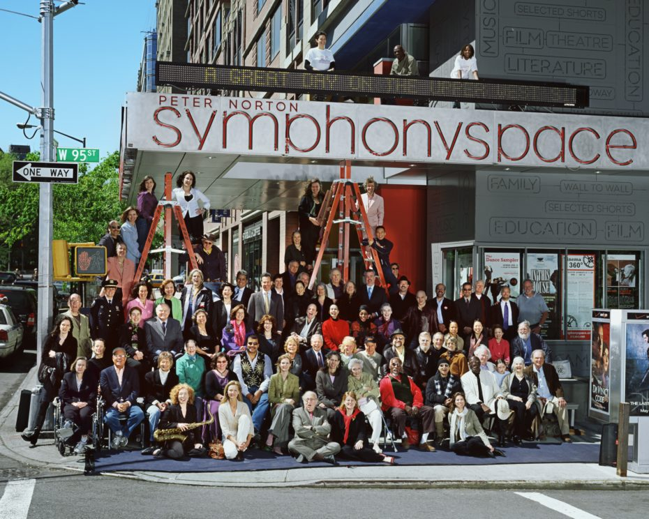 The staff of Symphony Space gathered joyfuly outside of the theater on West 95th Street.