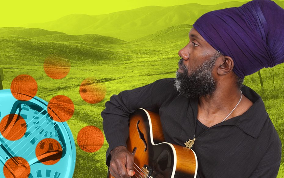 Corey Harris playing guitar against a yellow landscape, with flourish of a blue circle and orange dots.