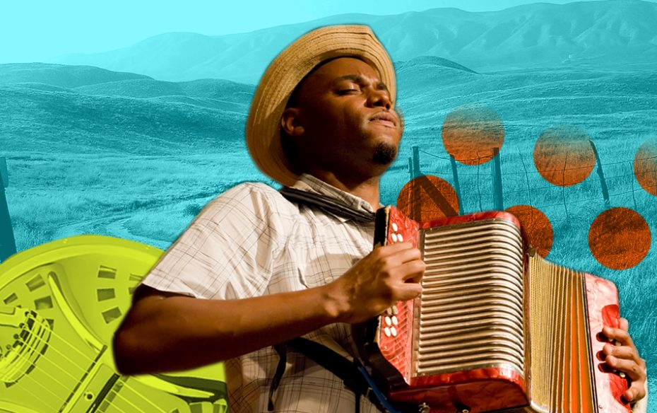 Cedric Watson playing accordion against a blue landscape.