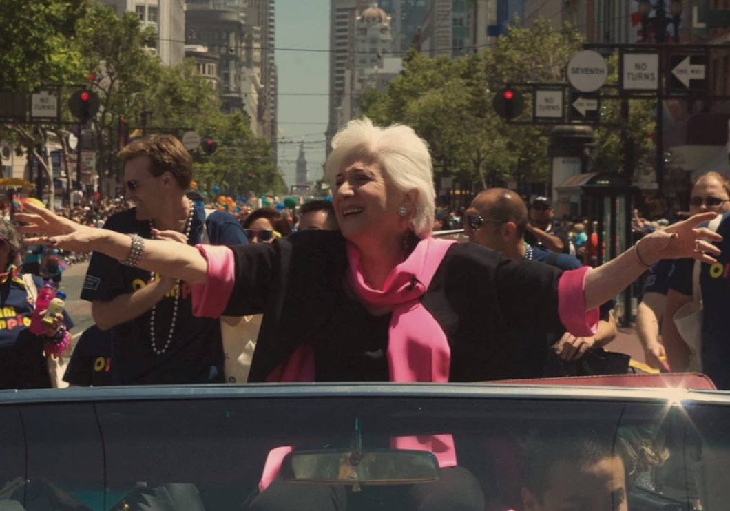 Olympia Dukakis riding in a convertible as the Celebrity Grand Marshal of the 2011 San Francisco Pride Parade