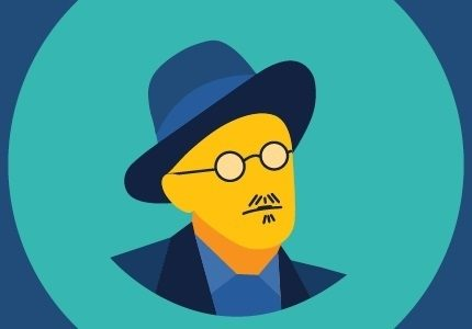 A logo for Bloomsday on Broadway featuring a cartoon version of James Jocye.