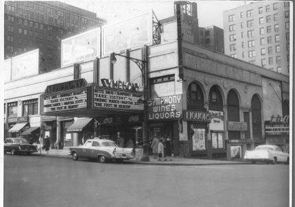 A vintage photograph of the corner of West 95th Street and Broadway, inluding the Symphony Space marquee.