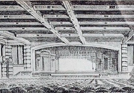 Lind drawing of the inside view of the stage of the Symphony Theatre.